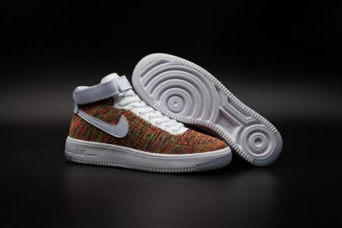 Nike Air Force one AF1 Ultra Flyknit Mid Multi color White Gold ...